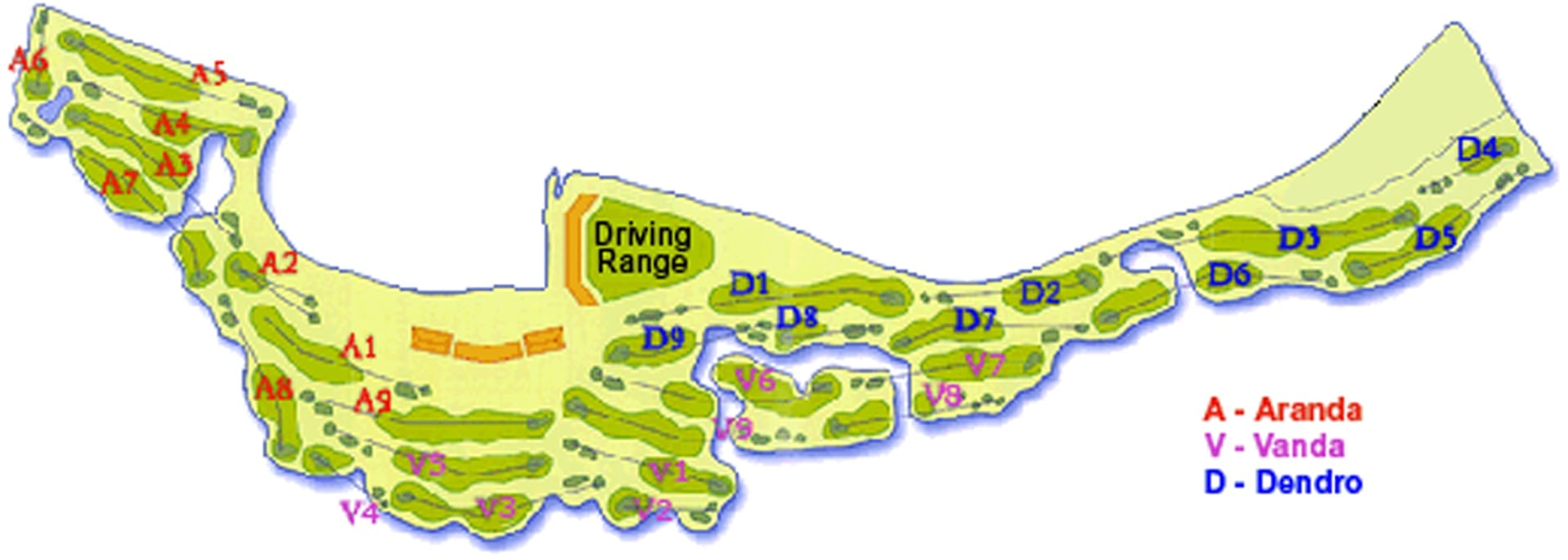 Map of Orchid Country Club golf course Singapore
